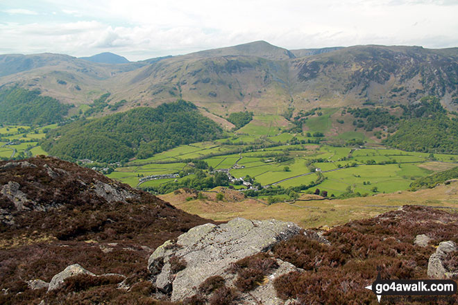 Rosthwaite and Borrowdale from the summit of Great Crag