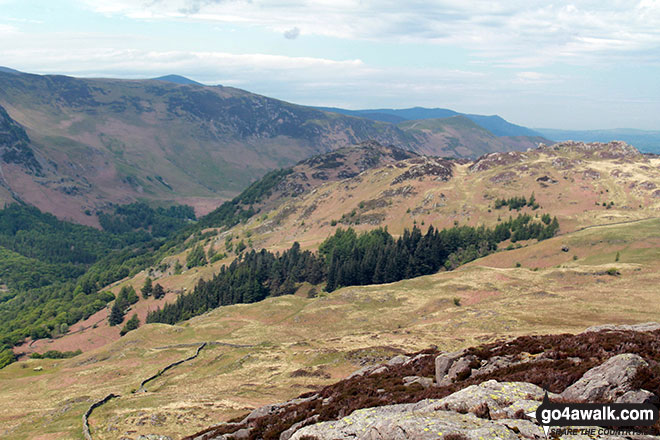 King's How and Grange Fell (Brund Fell) from the summit of Great Crag