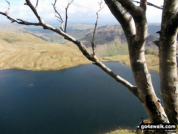 Stickle Tarn from half-way up Jake's Rake, Pavey Ark. Walk route map c281 The Langdale Pikes via North Rake from The New Dungeon Ghyll, Great Langdale photo