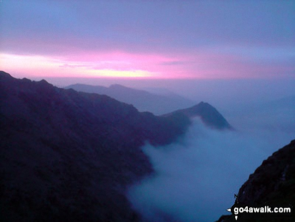 Crib Goch at dawn from very close to the top of Snowdon (Yr Wyddfa)
