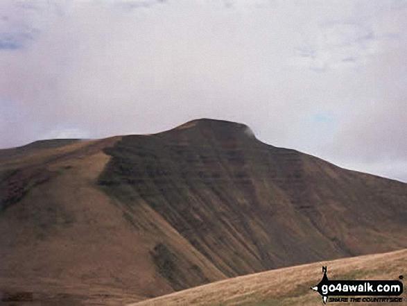 Pen y Fan from Cribyn. Walk route map po100 Pen y Fan from Neuadd Reservoir photo