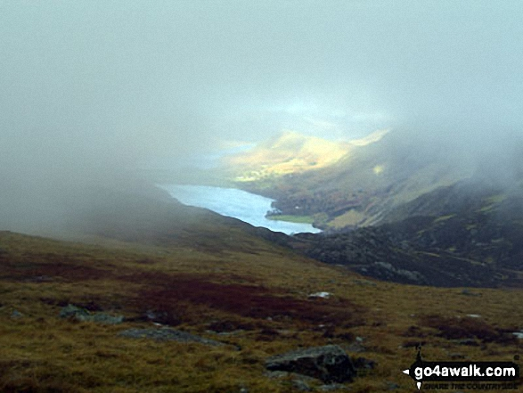 Wast Water from a misty Great Gable. Walk route map c141 Great Gable and Pillar from Wasdale Head, Wast Water photo
