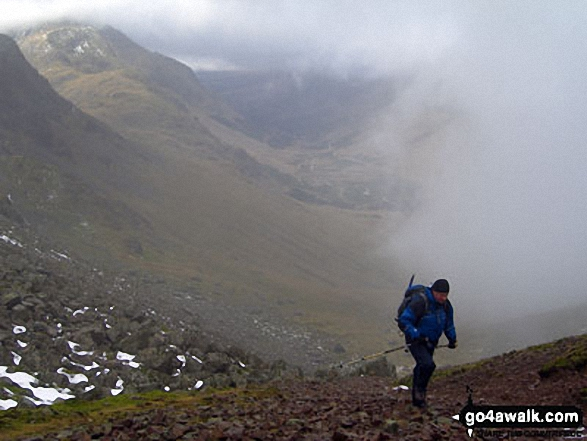 Climbing Great Gable in the mist. Walk route map c442 Great Gable and Green Gable from Honister Hause photo