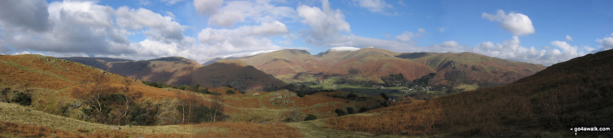 *Lakeland panorama featuring a snow-topped Helvellyn (centre left) and Fairfield (centre right) from above Grasmere