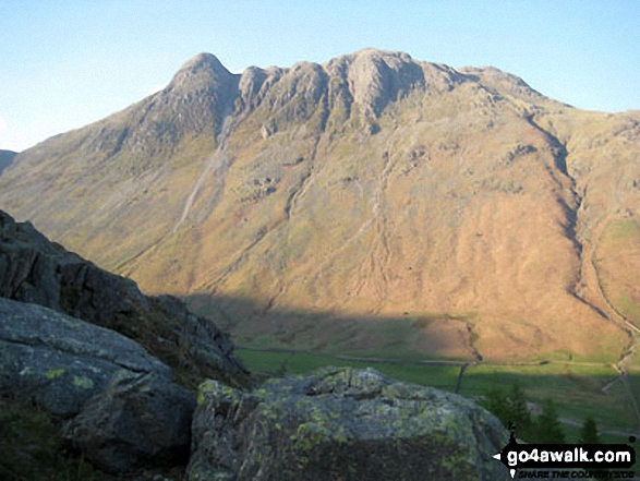 The Langdale Pikes - Pike of Stickle (left) and Loft Crag (centre right) from The Band