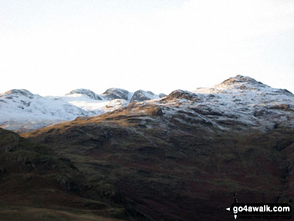 Crinkle Crags with snow dusting from Wetherlam Edge