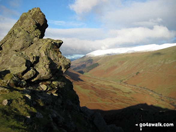 The Howitzer on Helm Crag with Helvellyn and The Pass of Dunmail Raise beyond