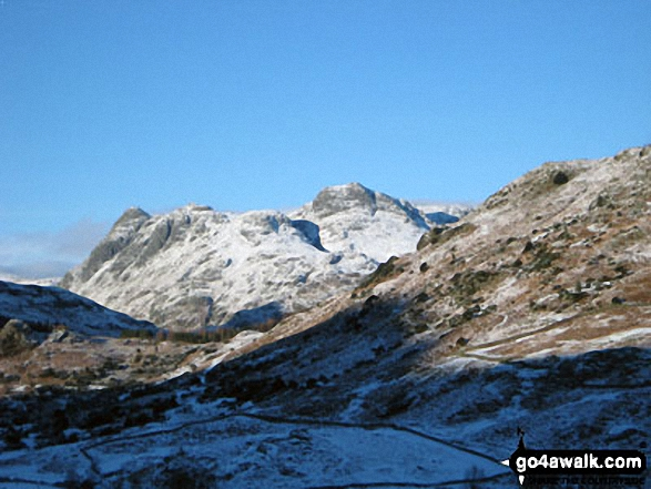 Snow on The Langdale Pikes from near Blea Tarn (Langdale)