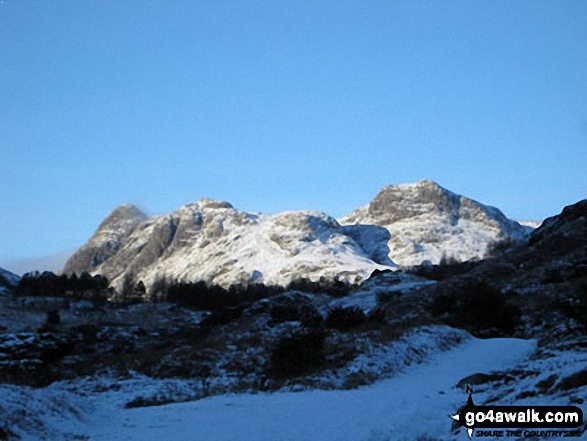 Snow and sunshine on The Langdale Pikes from near Blea Tarn (Langdale)