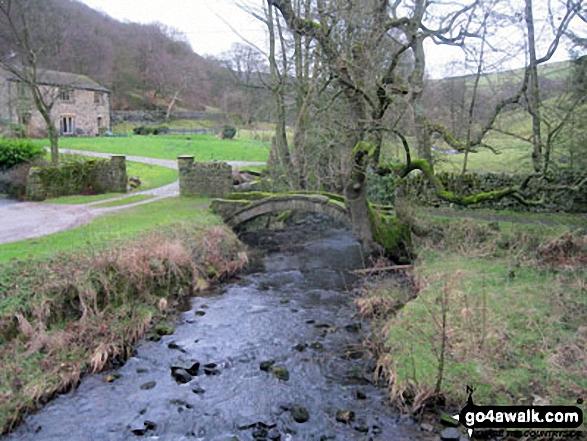 Old packhorse bridge near Bowden Bridge Car Park, Hayfield. Walk route map d186 Kinder Scout and Kinder Downfall from Bowden Bridge, Hayfield photo