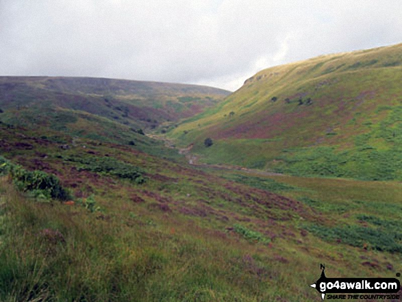 The Crowden Great Brook valley with Laddow Rocks (left) and Bareholmes Moss (right) from The Pennine Way near Crowden