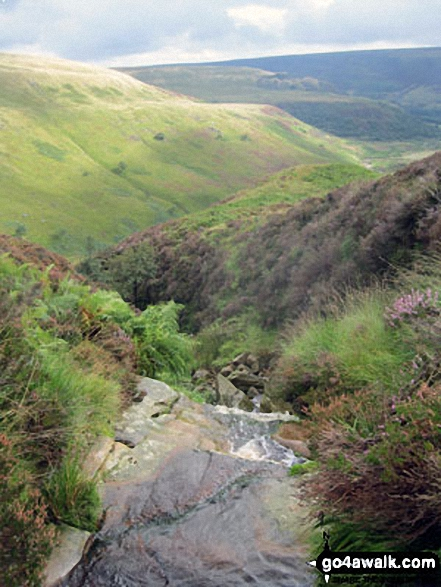 Bareholme Moss and Crowden (right) from Oakenclough Brook