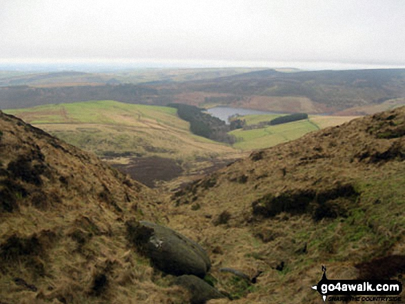 Kinder Reservoir from Red Brook. Walk route map d186 Kinder Scout and Kinder Downfall from Bowden Bridge, Hayfield photo