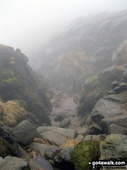 The top of Red Brook in mist. Walk route map d186 Kinder Scout and Kinder Downfall from Bowden Bridge, Hayfield photo