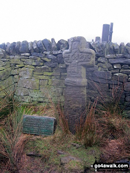 Edale Cross. Walk route map d186 Kinder Scout and Kinder Downfall from Bowden Bridge, Hayfield photo