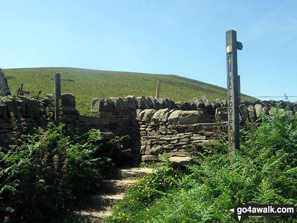 Stone stile and fingerpost on Bradwell Edge