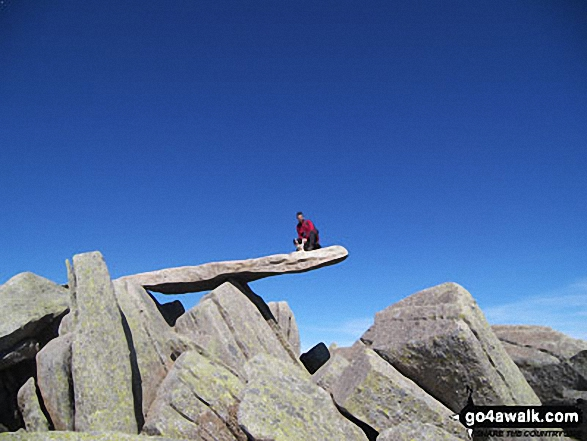 Me and my dog Dante on The Cantilever Stone, Glyder Fach