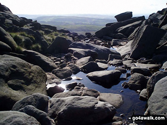 Looking over Kinder Downfall. Walk route map d186 Kinder Scout and Kinder Downfall from Bowden Bridge, Hayfield photo