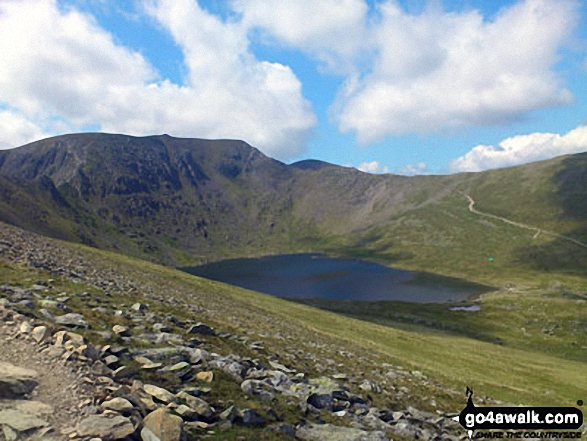 Walk c224 Helvellyn via Swirral Edge and Raise from Glenridding - Helvellyn, Swirral Edge and Red Tarn taken from Hole-in-the-Wall at the beginning of Striding Edge