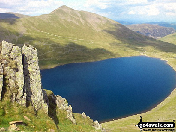 Walk c264 The Grisedale Round from Patterdale - Red Tarn (Helvellyn) with Catstye Cam beyond from Striding Edge