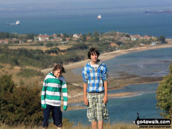 My two sons on Culver Down