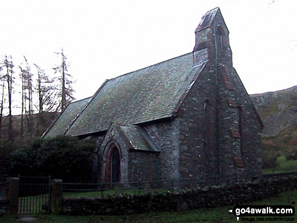 St Peter's Church, Howtown. Walk route map c304 Beda Head and Place Fell from Howtown photo