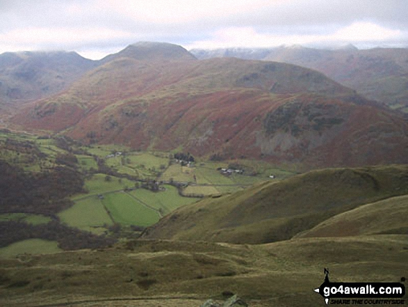 Hartsop above How and Patterdale from Angletarn Pikes. Walk route map c304 Beda Head and Place Fell from Howtown photo