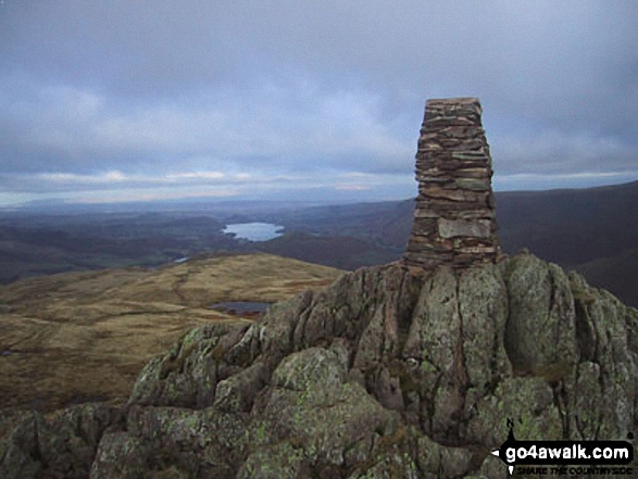 Place Fell summit with Ullswater in the distance. Walk route map c304 Beda Head and Place Fell from Howtown photo