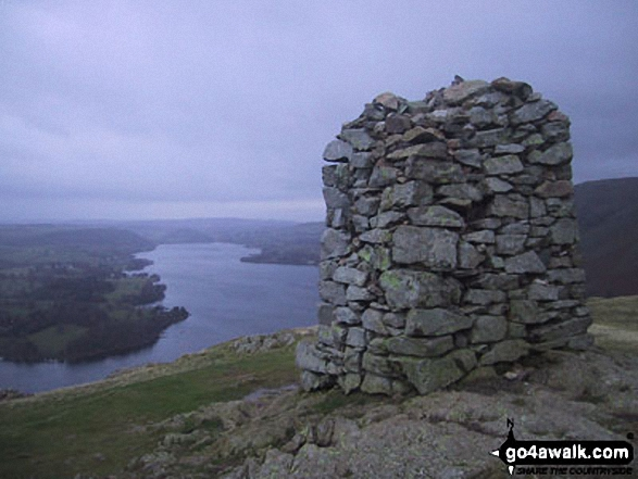 Ullswater from Hallin Fell summit. Walk route map c304 Beda Head and Place Fell from Howtown photo