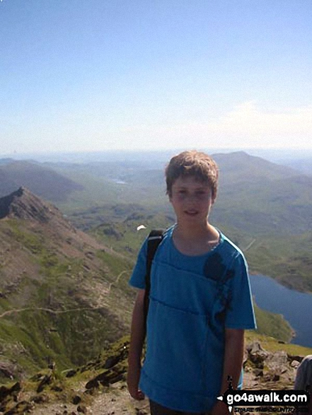 Son Sam on Snowdon (Yr Wyddfa) on the ultimate cloudless July day. Walk route map gw107 Snowdon and Yr Aran from Rhyd Ddu photo