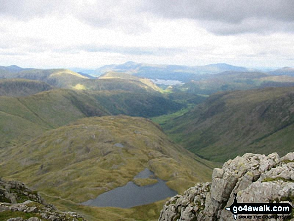 Skiddaw and Derwent Water (in distance) with Seathwaite Fell and Sprinkling Tarn (foreground) from Great End (Scafell Massif)