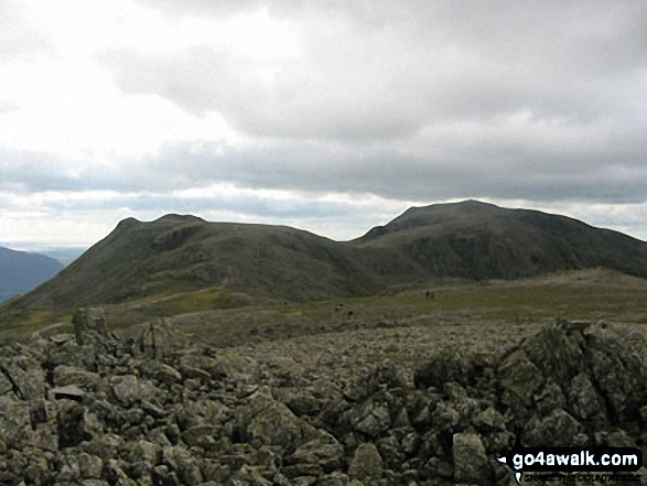 Ill Crag (left) Broad Crag (centre) and Scafell Pike (right) from Great End (Scafell Massif). Walk route map c416 Scafell Pike from The Old Dungeon Ghyll, Great Langdale photo