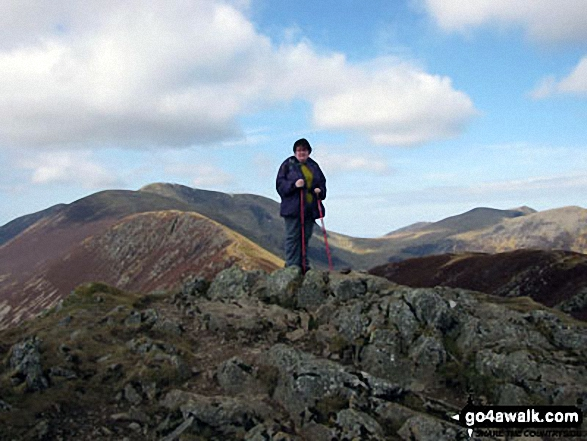 On top of Causey Pike with Scar Crags, Sail (Derwent Fells) and Crag Hill (Eel Crag) behind 20th April 2013