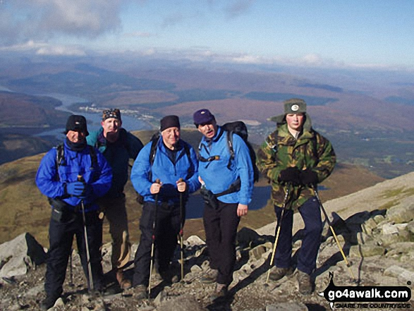 Me, Roger, Ken, Alan and young Tom on Ben Nevis. Walk route map h154 Ben Nevis and Carn Mor Dearg from The Nevis Range Mountain Gondola photo