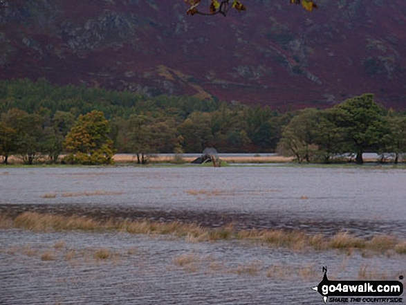 The footbridge at Park Neb at the southern end of Derwent Water - cut off by flood waters. Walk route map c265 A Circuit of Derwent Water from Keswick photo