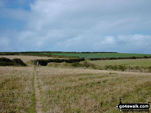 Heading for Trevilley, Land's End. Walk route map co157 Watergate Bay from Mawgan Porth photo