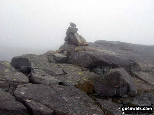 Foel Penolau summit cairn in mist