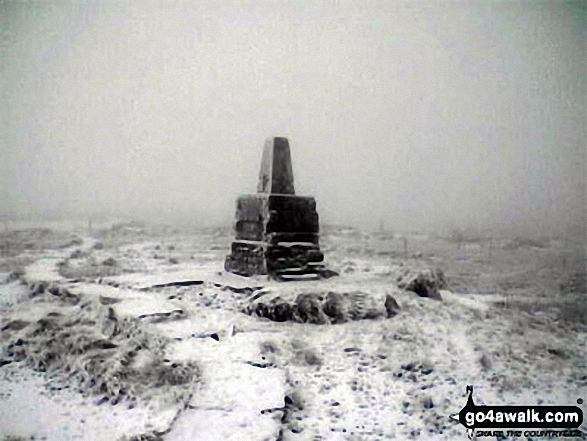The Cheviot summit in the snow