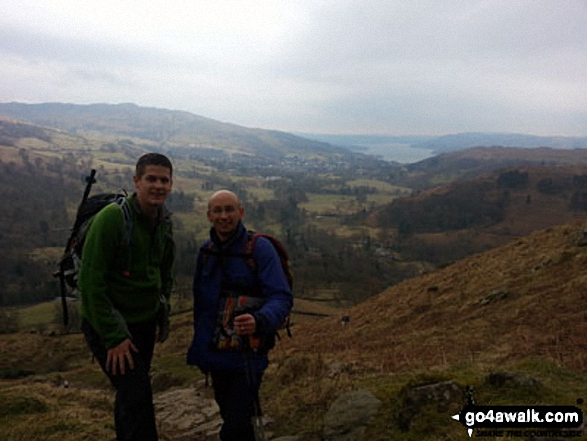 Steve Taylor and Ian Matthews Golledge looking back over Ambleside & Lake Windermere as we ascended Nab scar and on up to Fairfield. Walk route map c247 The Fairfield Horseshoe from Ambleside photo