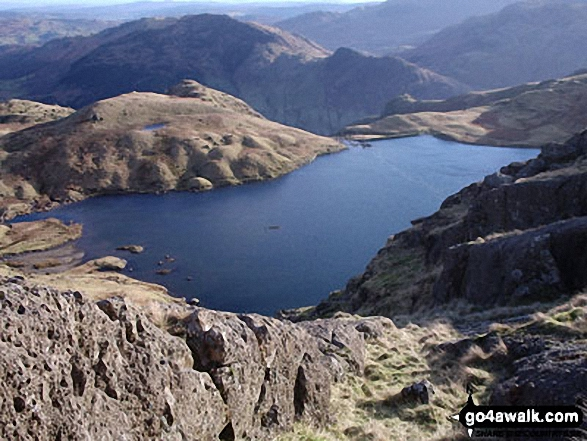 Stickle Tarn from the path up Pavey Ark and The Langadale Pikes