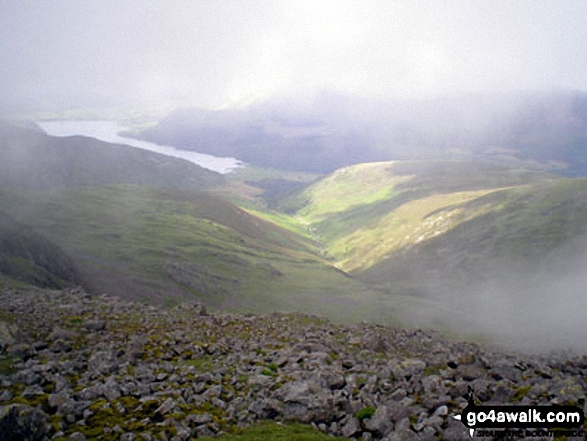 Ennerdale from the summit of Haycock during a break in the mist