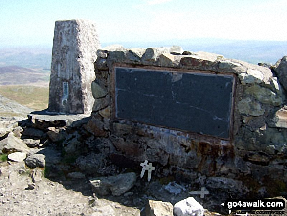 Arenig Fawr summit trig point and memorial plaque