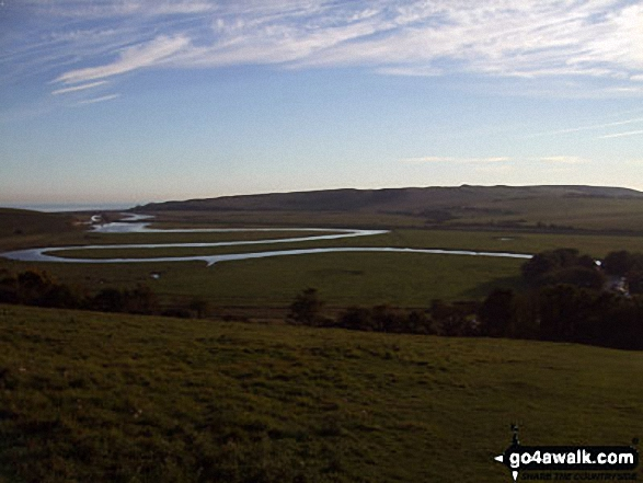 Cuckmere Haven at dusk from The South Downs Way