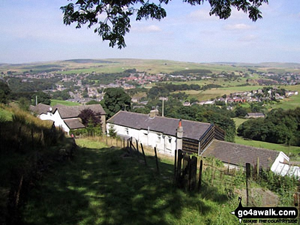 Waterfoot from nr Cowpe Lowe. Walk route map l210 Cowpe Lowe from Edenfield photo
