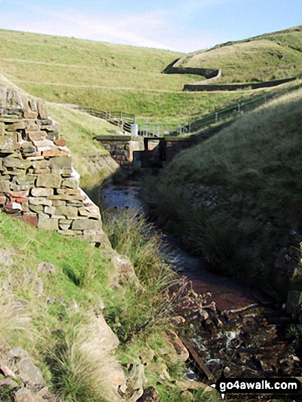 Waugh Well Reservoir Dam and Outflow. Walk route map l210 Cowpe Lowe from Edenfield photo