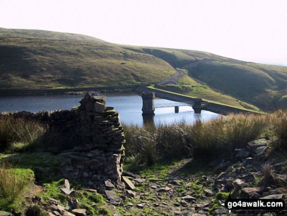 Waugh Well Reservoir. Walk route map l210 Cowpe Lowe from Edenfield photo