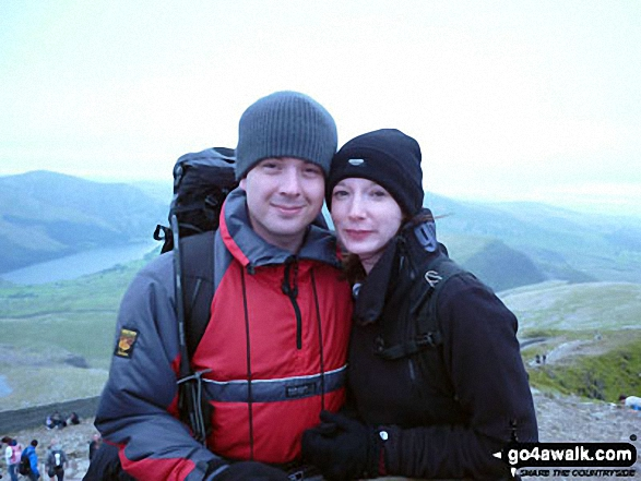 Me and my wife Emma at the top of Snowdon Our first Anniversary and our first mountain summit together!