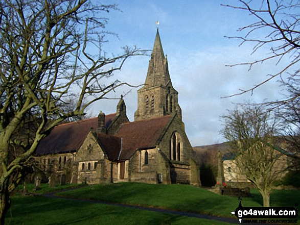 Edale Church. Walk route map d252 Mam Tor and Rushup Edge from Edale photo
