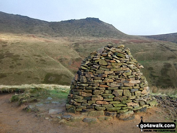 Large cairn at the top of Jacob's Ladder (Edale) on The Pennine Way. Walk route map d296 Jacob's Ladder and Kinder Scout from Edale photo