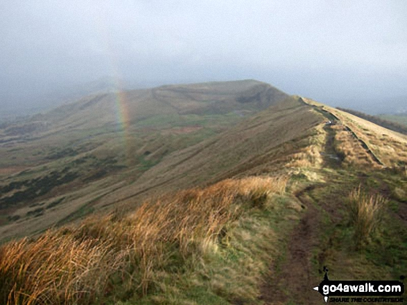 Rainbow and Mam Tor from Lord's Seat (Rushup Edge). Walk route map d252 Mam Tor and Rushup Edge from Edale photo